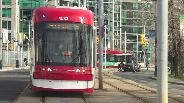 point of view image of the lake shore boulevard from inside a ttc streetcar on november 30 in toronto, ontario, canada. lake shore boulevard is a... - railway track stock videos & royalty-free footage