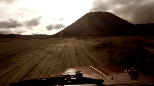 point of view in bromo mountains is in front of the car. - off road racing stock videos & royalty-free footage