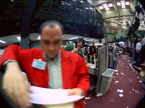 fisheye point of view male traders standing on littered floor of coffee, sugar + cocoa exchange, nyc - bull market stock videos & royalty-free footage