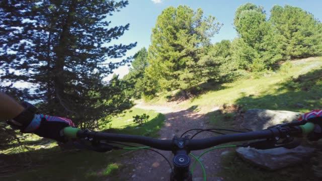 Point of view POV mountain bike on Dolomites