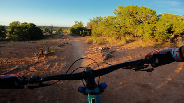 point of view pov mountainbike in moab, utah - state park stock videos & royalty-free footage
