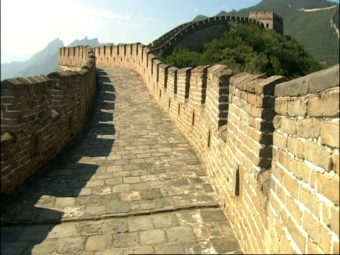 point of view, moving along great wall of china, mutianyu, china - mutianyu stock videos & royalty-free footage