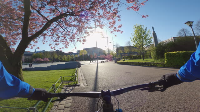 point of view pov mtb mountain bike in bergen, norway: spring bloom - bicycle trail outdoor sports stock videos & royalty-free footage