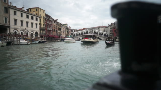 Point of view of a boat sailing on the waters of Venice