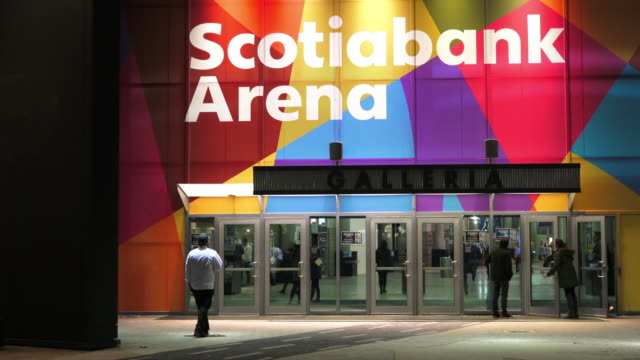 Point of view of a person approaching the Scotiabank Arena Gallery which is located by the side of the main building Night image of a famous place...