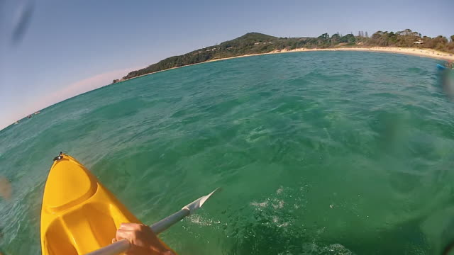 point of view (pov) of a person in a kayak at byron bay - water sport stock videos & royalty-free footage