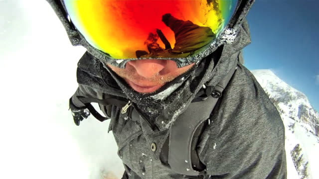 point of view of a snowboarder in powder snow - work helmet stock videos & royalty-free footage