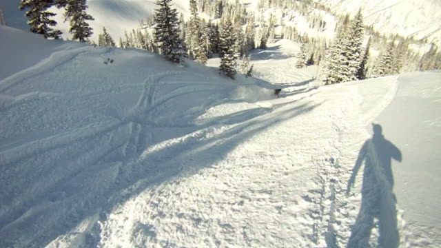 point of view of a snowboarder in powder snow - utah stock videos & royalty-free footage