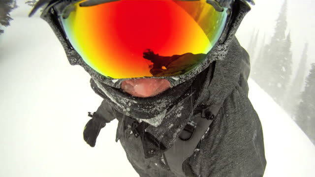 Point of view of a snowboarder in powder snow