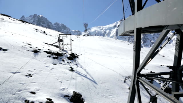 point of view of aiguille du midi tram going up - mont blanc stock videos & royalty-free footage