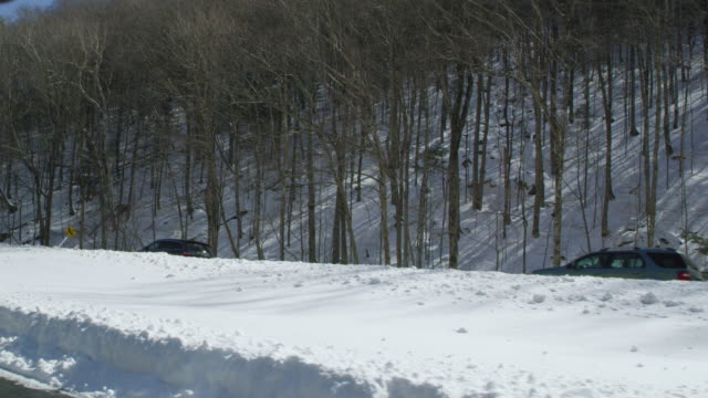 point of view of cars driving on mountain road passing by forest during winter - winter点の映像素材/bロール