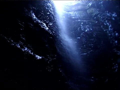 Point of view of caver descending into Gaping Gill Yorkshire