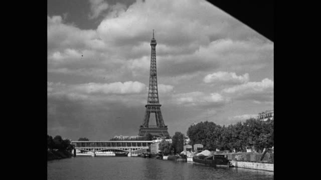 point of view of eiffel tower seen from seine river, paris, france - eiffel tower paris stock videos & royalty-free footage