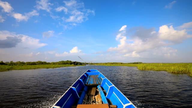 point of view of longtail boat cruising on stunning lake in ban pak pra -talay noi lake, phatthalung, thailand. - floating on water stock videos & royalty-free footage
