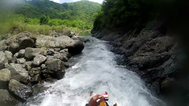 point of view of river riding - inflatable raft stock videos and b-roll footage