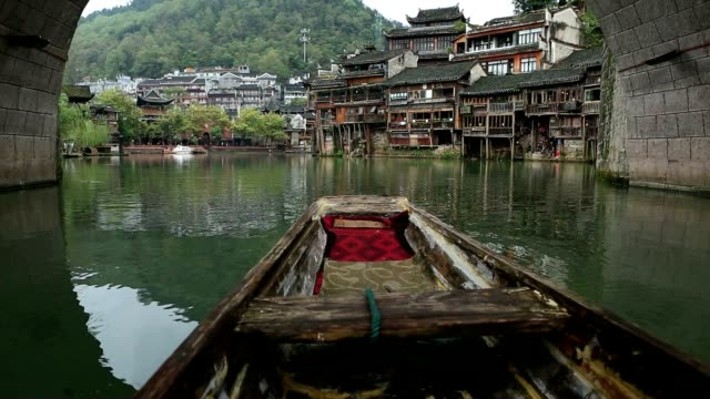 Point of view of rowboat cruising on the river, China