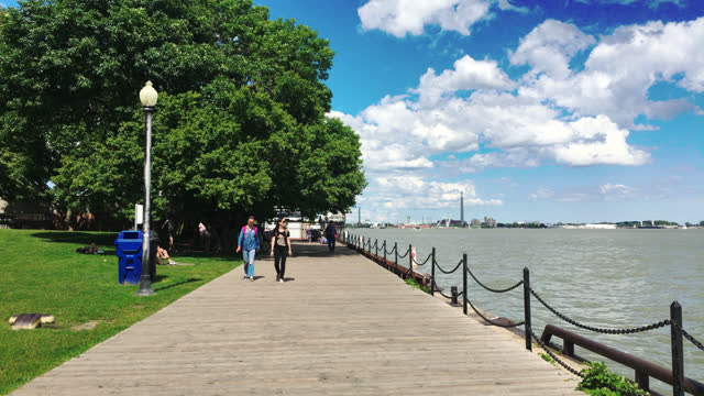 point of view of the boardwalk in the waterfront by lake ontario in the downtown district seen on july 29, 2017; in toronto, ontario, canada. this... - water surface stock videos & royalty-free footage