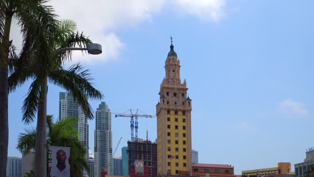 point of view of the freedom tower on june 6 in miami, florida, usa. this old building is a famous place and a major tourist attraction in the city - copy space stock videos & royalty-free footage