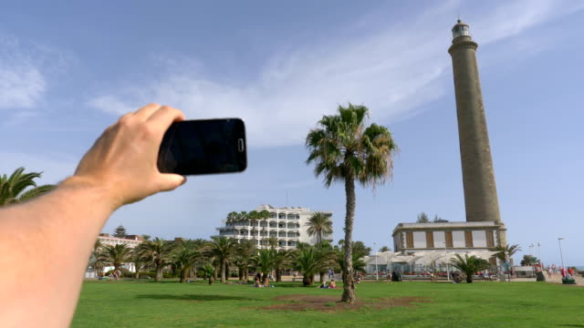 point of view on the taking a selfie photo in maspalomas grand canary in 4k - grand canary stock videos & royalty-free footage