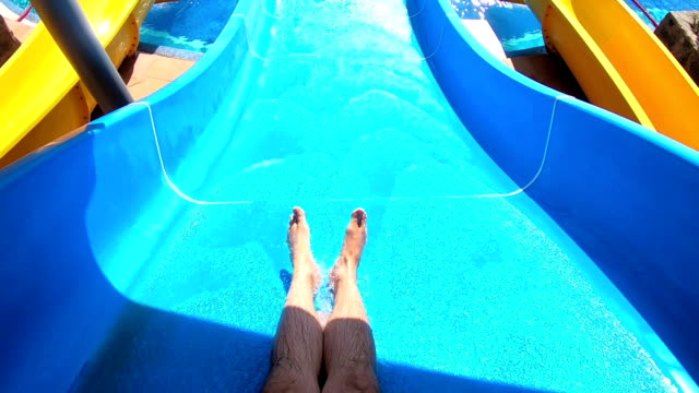 Point of view on the water slide in the water park