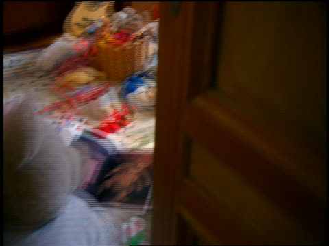 point of view opening door to child's messy bedroom with toys covering floor - doorway stock videos & royalty-free footage