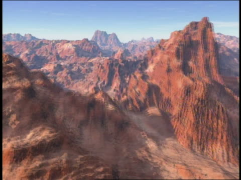cgi aerial point of view over mountainous landscape - felsformation stock-videos und b-roll-filmmaterial