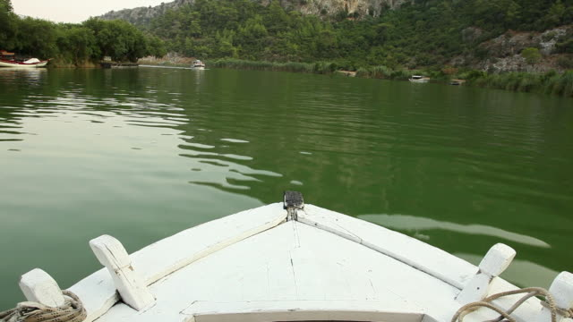Point of view shot from a boat on river, Daylan, Turkey
