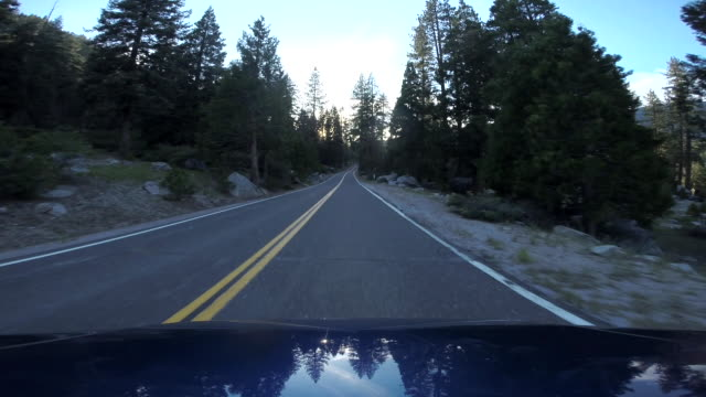 Point of view shot from a car as it travels through the countryside of Tuolumne County, California.