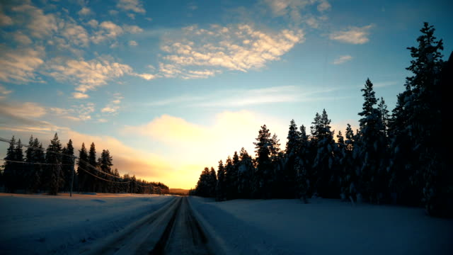 point of view shot of running on a snow covered road with tire tracks towards a tree during winter in arjeplog ,sweden - snowplough stock videos & royalty-free footage