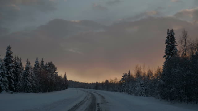 point of view shot of running on a snow covered road with tire tracks towards a tree during winter in arjeplog ,sweden - country road stock videos & royalty-free footage