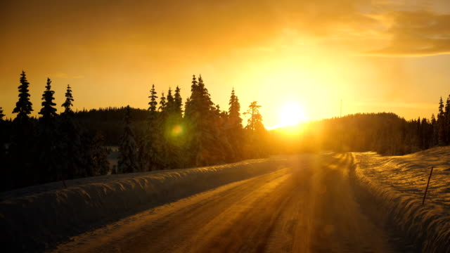 point of view shot of running on a snow covered road with tire tracks towards a tree sunset during winter in arjeplog ,sweden - narrow stock videos & royalty-free footage