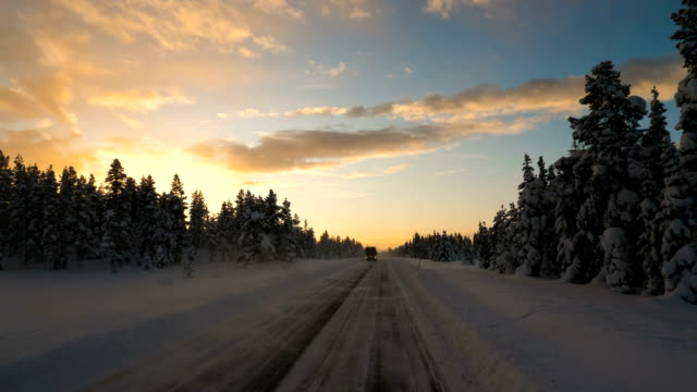 point of view shot of running on a snow covered road with tire tracks towards a tree during winter in arjeplog ,sweden - sliding stock videos & royalty-free footage