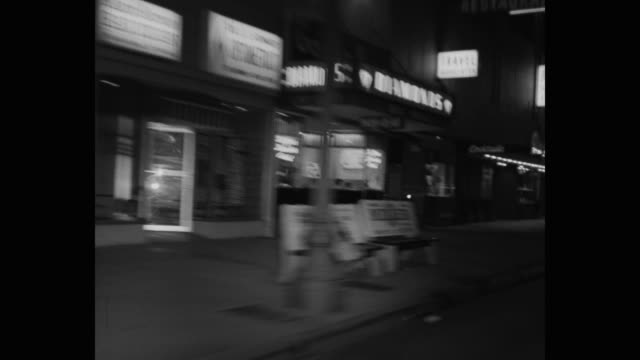 point of view shot of shops in city at night, wilshire boulevard, los angeles, california, usa - 1965 stock videos & royalty-free footage
