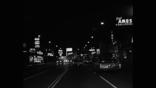 point of view shot of traffic moving on street at night, wilshire boulevard, los angeles, california, usa - 1965 stock videos & royalty-free footage