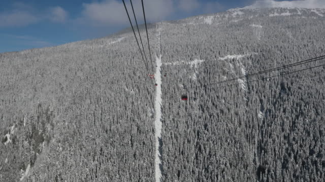4K Point Of View Ski Lift Going Up at Ski Resort
