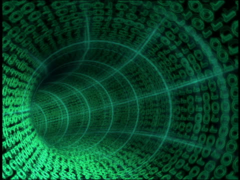 CGI point of view through green binary code tunnel with grid