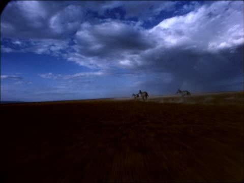 point of view toward 3 zebras running across desert plain / africa - pflanzenfressend stock-videos und b-roll-filmmaterial