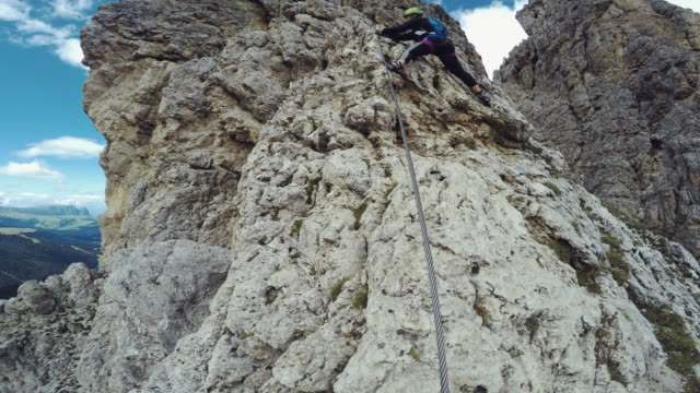 point of view video: free climbing on the alps - free climbing stock videos & royalty-free footage