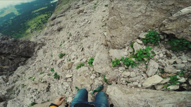 POV point of view walking and hiking in high mountain