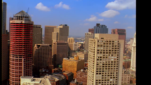 aerial point of view wide shot over downtown boston with boston common + charles river in background / massachusetts - river charles stock videos & royalty-free footage