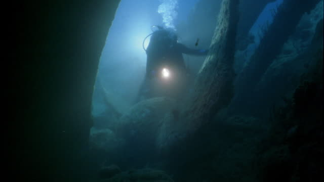 point of view wide shot through shipwreck underwater to scuba diver holding light - scuba diver point of view stock videos & royalty-free footage