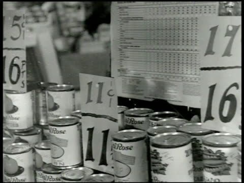 point value chart for processed foods canned goods w/ rationing chart bg sign on fruit cans 'sorry no more pineapple' poster 'let's share the food... - food stamps stock videos & royalty-free footage