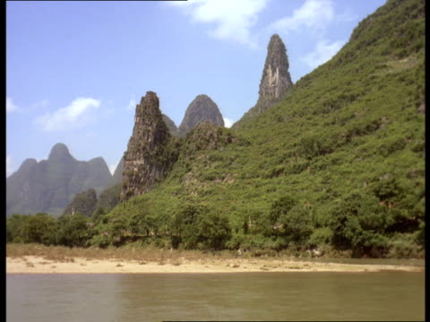 Pointed mountains tower above the Li River in Guilin.
