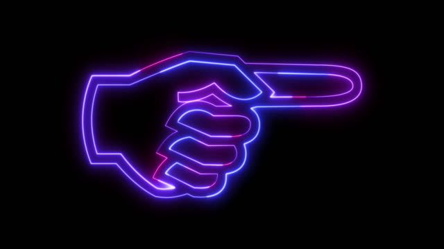 pointer showing the direction in the form of a neon glowing stylized hand. - expertise stock videos & royalty-free footage