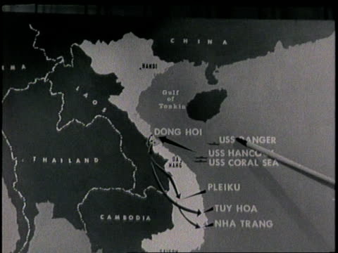 pointer touches a map of vietnam war zones in the 1960s. - vietnam war stock videos & royalty-free footage