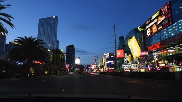 point-of-view driving on the strip, las vegas, nevada, united states - the strip las vegas video stock e b–roll