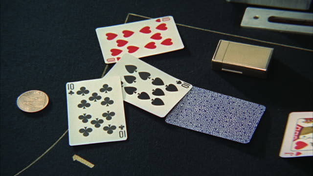 1966 cu zi poker cards  on table - casino cards stock videos & royalty-free footage