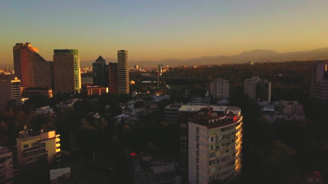 Polanco Sunset Aerial View with Mexican flag in the background