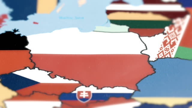 Poland Borders wiht National Flag on World Map