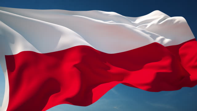 4k poland flag - loopable - eastern european culture stock videos & royalty-free footage